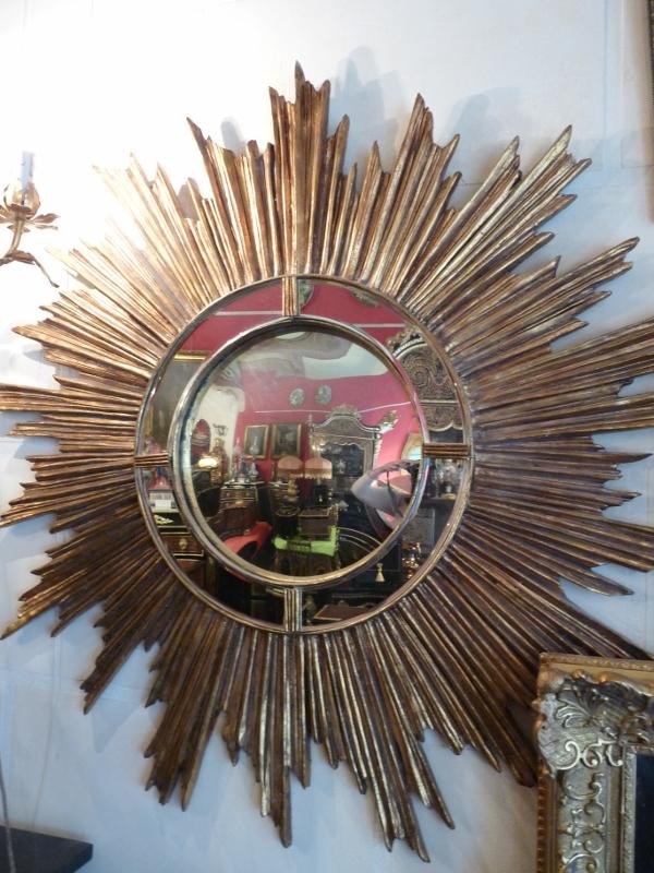 Miroir de sorci re grand soleil dor art et antiques for Miroir de sorciere definition