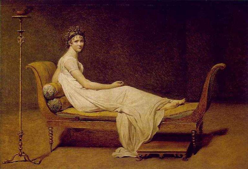 Tableau représentant une femme allongée sur une méridienne Directoire